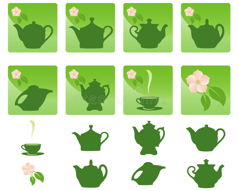 Icons. Tea. Software Used: Adobe Illustrator CS2. Vector art in EPS format. All icons organized in groups for usability royalty free illustration
