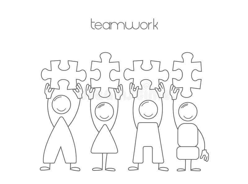 Icons teamwork. Illustration of team work in business vector illustration