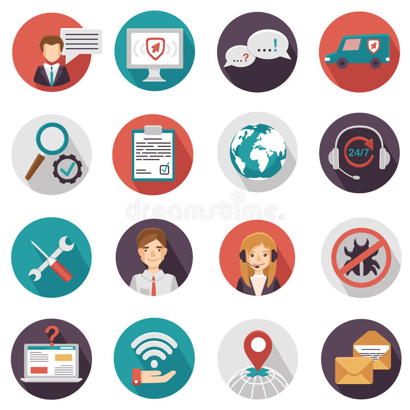 Icons of technical support . A set of technical support icons. Vector illustration stock illustration