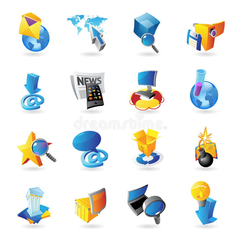 Download Icons for technology stock vector. Image of globe, folder - 25530378