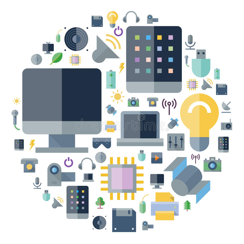 Icons for technology and devices arranged in circle. Icons for technology and electronic devices arranged in circle. Vector illustration vector illustration