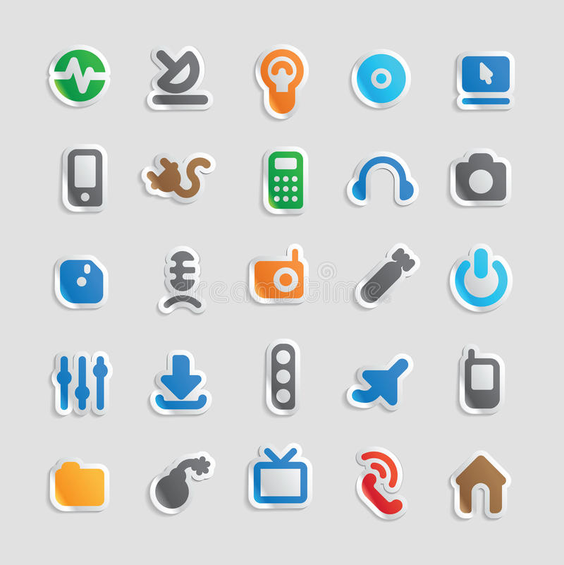 Icons for technology and industry stock illustration