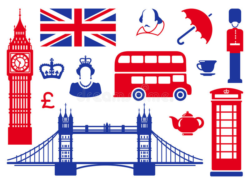 Icons on a theme of England. Symbols of England and London. Red-dark blue icons