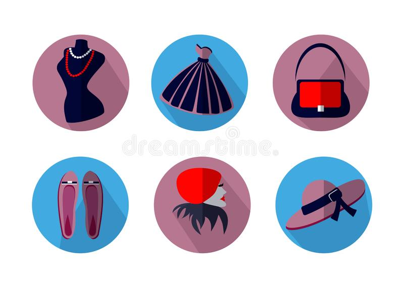 Icons on the theme of fashion on a white background. Isolated icons on the theme of fashion on a white background: dress, mannequin, bag, ballet flats, female stock illustration