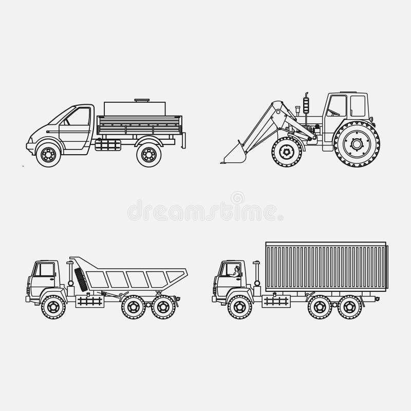 Icons transport, transport loading, vtonkih lines. Transport icons, transport loading, in thin lines, road maintenance technology, image royalty free illustration