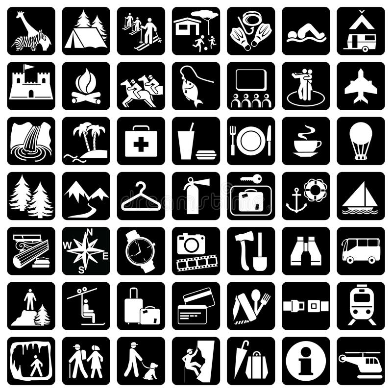 Icons travel. 49 vector icons set at the travel theme