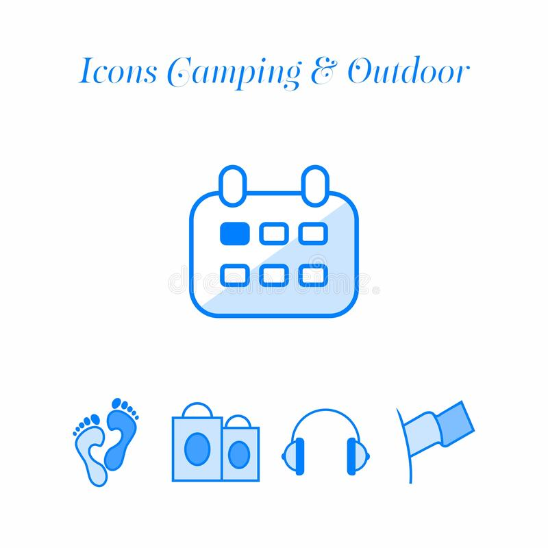 Icons travel set. Icons travel, camping, outdoor activities and more stock illustration