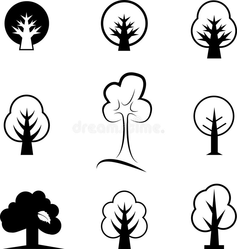 Icons of trees vector illustration
