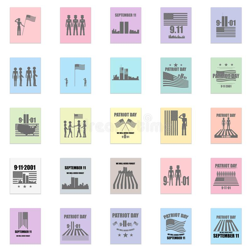 9-11 Remembrances. Icons in tribute to 9-11 and patriotism stock illustration