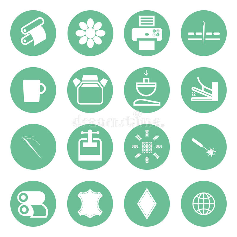 Icons types of printing, printing icon royalty free illustration