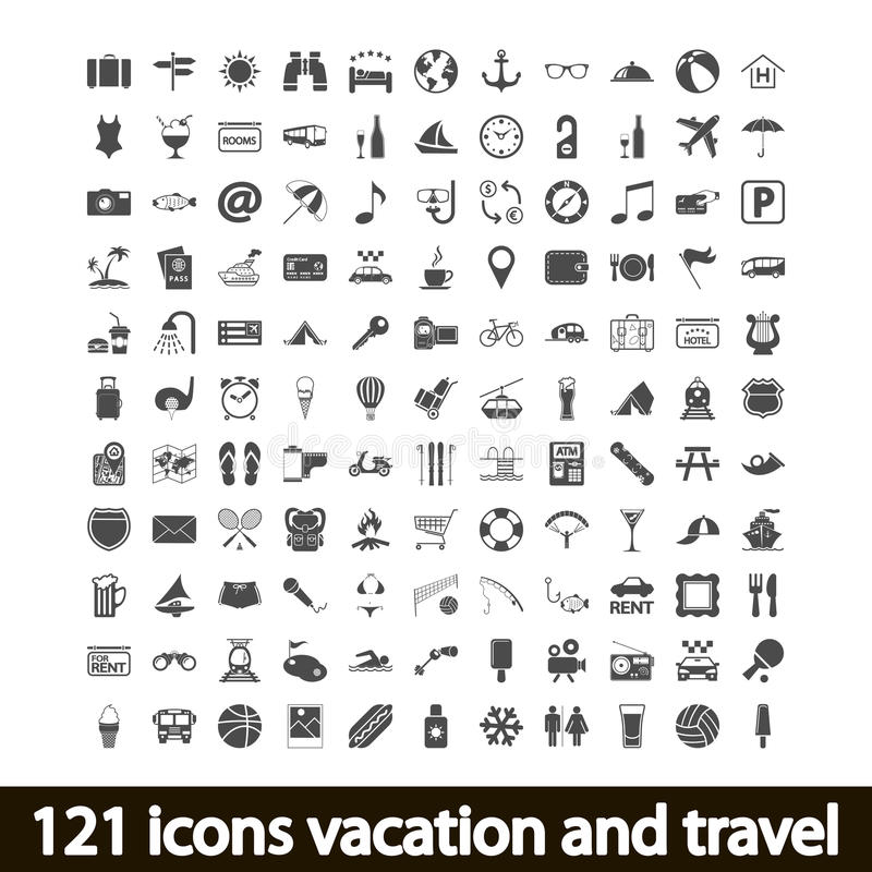 Download 121 Icons Vacation And Travel Royalty Free Stock Photography - Image: 32437267