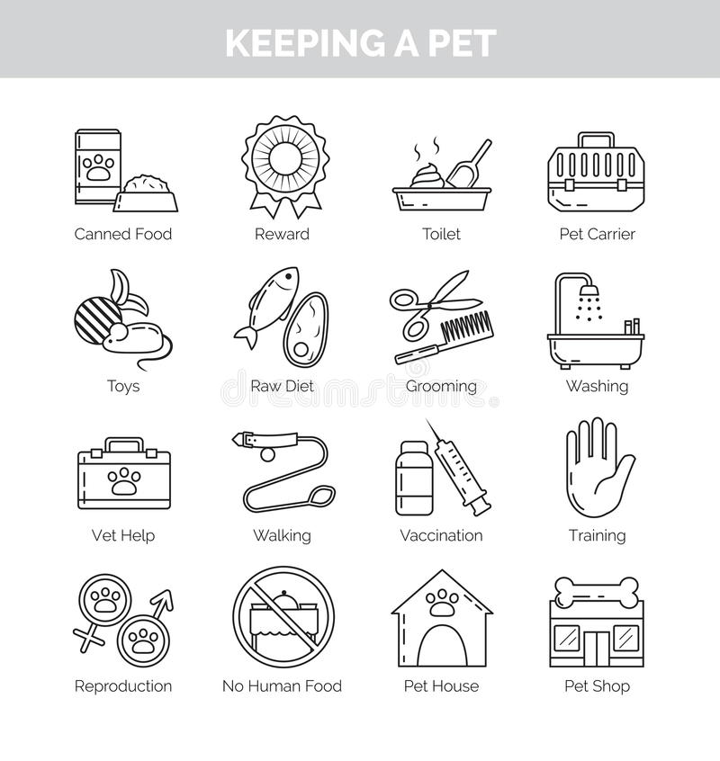 Icons for various aspects of keeping pets at home royalty free illustration