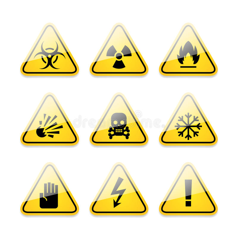 Icons warning signs of danger vector illustration