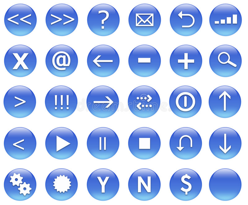 Download Icons For Web Actions Set Blue Stock Illustration - Illustration of close, glossy: 4264940