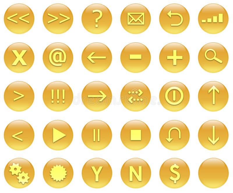Icons For Web Actions Set Orange royalty free illustration