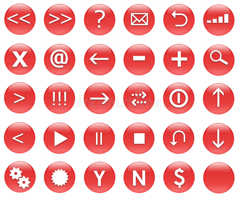 Download Icons For Web Actions Set Red Stock Illustration - Image: 4366386