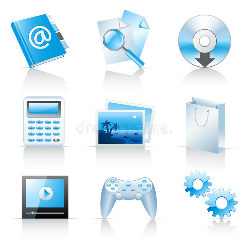 Icons for web applications and services royalty free illustration