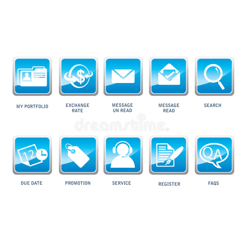 Icons For Web ,Business, Internet,and Communicatio stock illustration