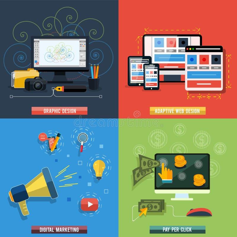 Icons for web design, seo, social media royalty free illustration