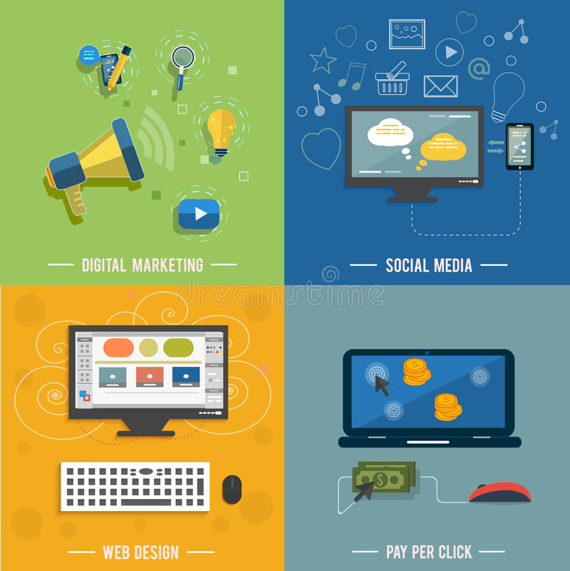Icons for web design, seo, social media vector illustration