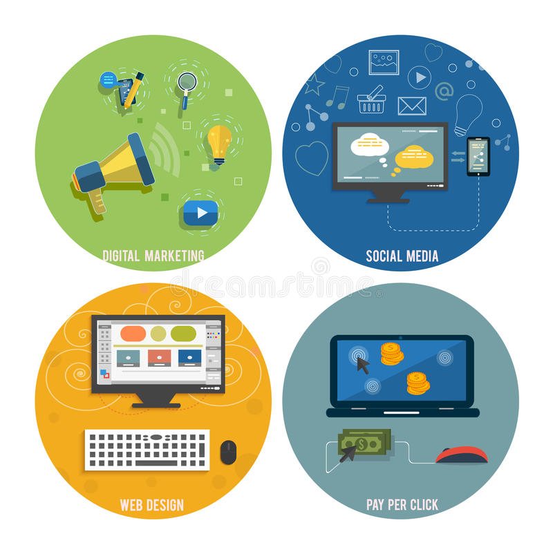 Icons for web design, seo, social media. And pay per click internet advertising in flat design stock illustration
