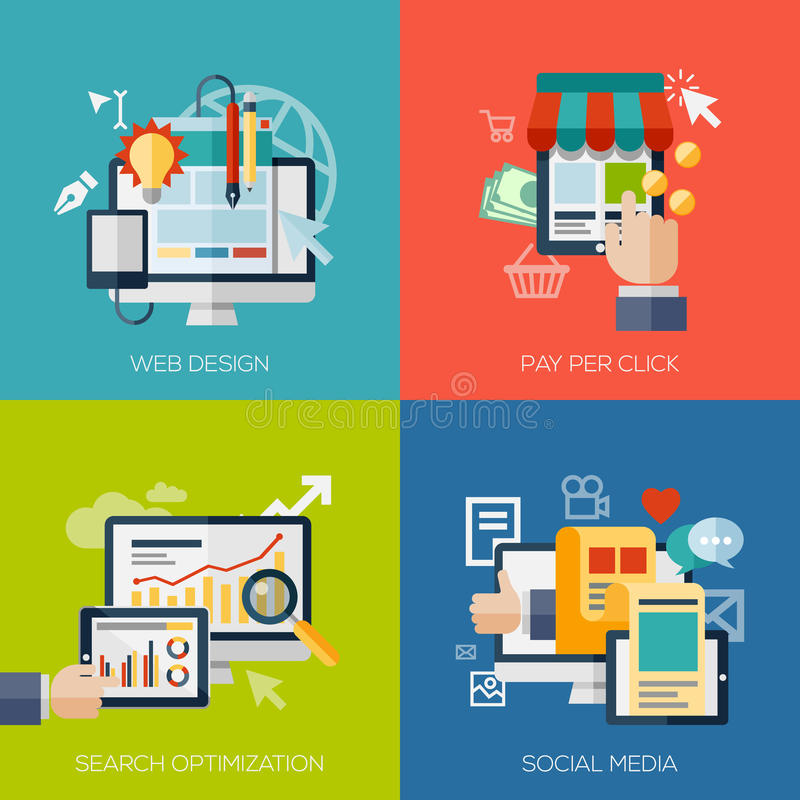 Icons for web design, seo, social media and pay stock illustration