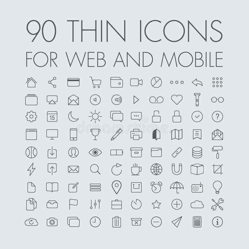 90 icons for web and mobile vector illustration