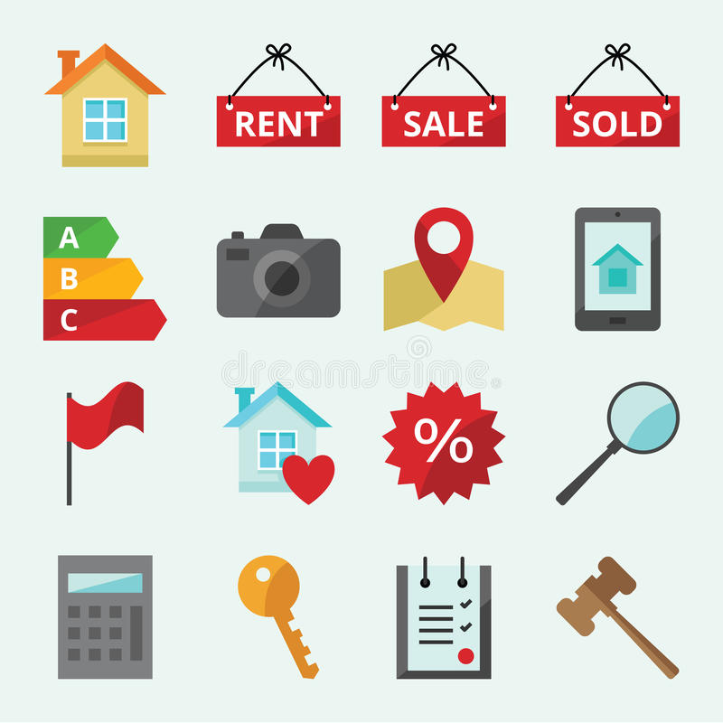 Icons for web site Real Estate stock illustration