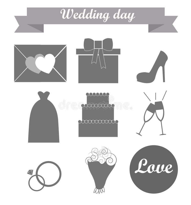 The icons on a wedding theme stock photography