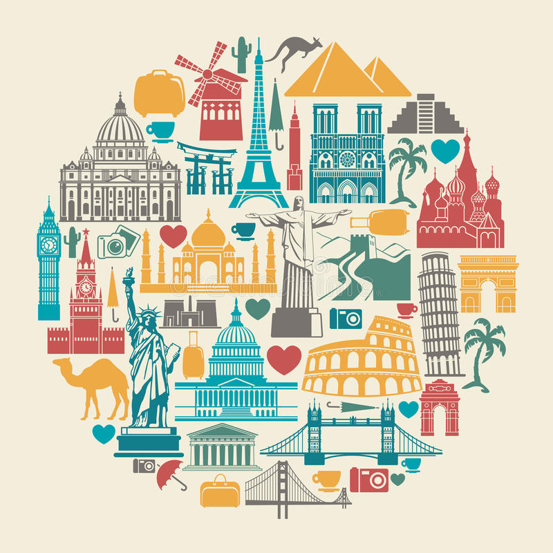 Icons world tourist attractions. Icon architectural monuments of the world in the shape of a circle stock illustration