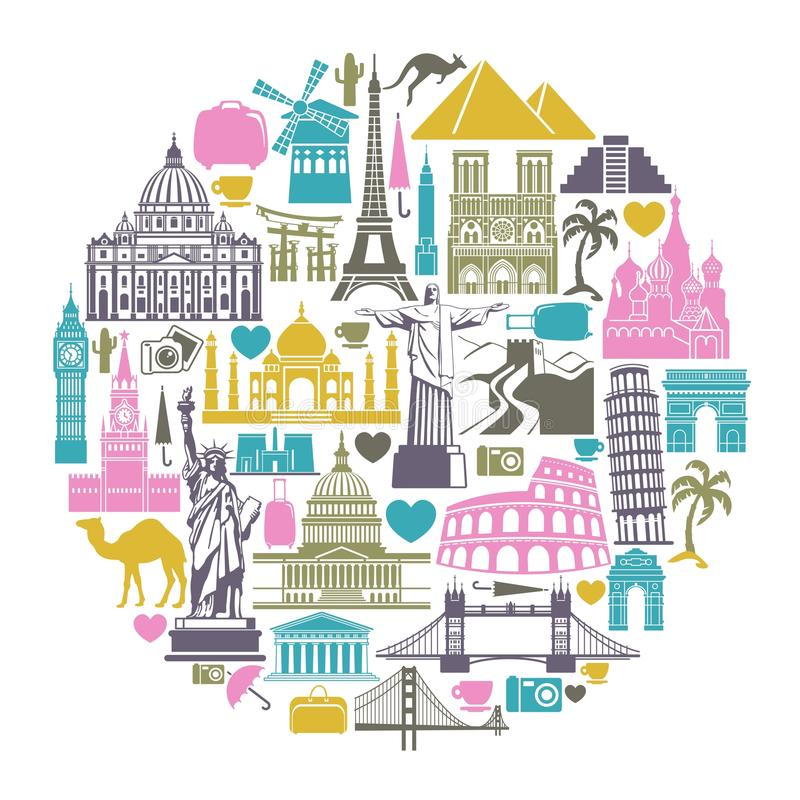 Icons world tourist attractions. Icon architectural monuments of the world in the shape of a circle royalty free illustration