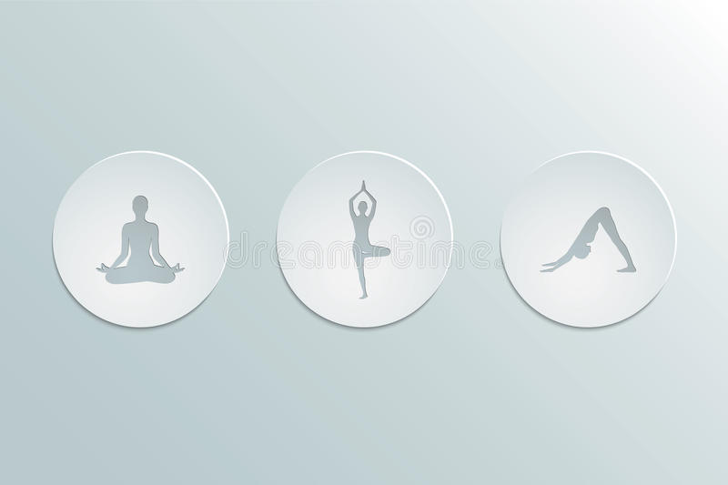 icons yoga asanas stock illustration