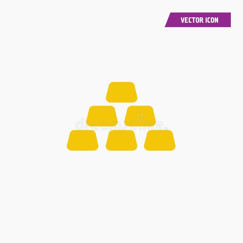 Golden bars, bullion flat yellow colored icon. Vector vector illustration