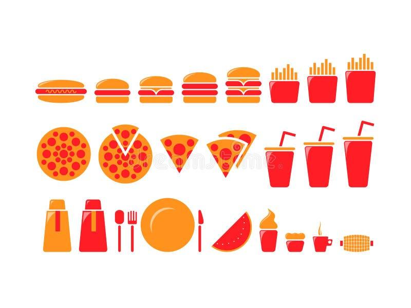 Iconset degli alimenti a rapida preparazione immagini stock libere da diritti