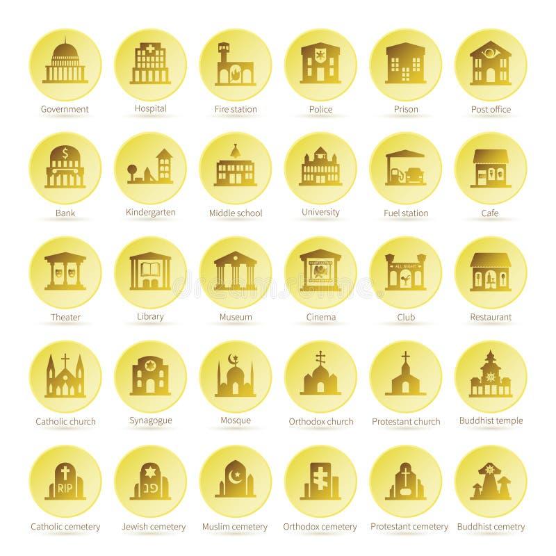 Iconset för översiktsnavigeringvektor i plan stil royaltyfri illustrationer