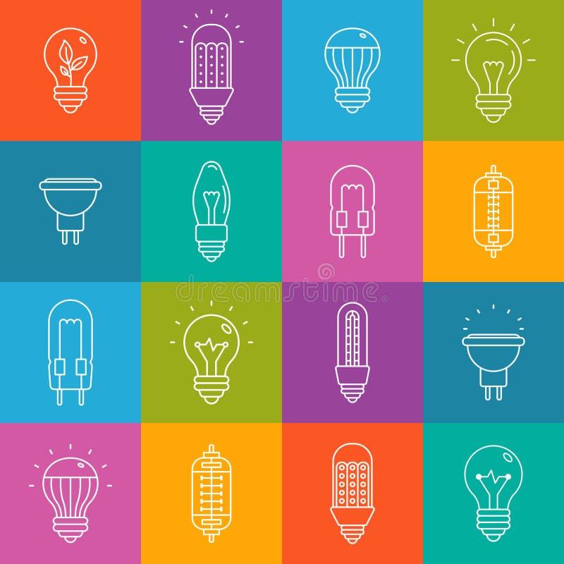 Iconset minimo di vettore del lineart delle lampadine su struttura a quadretti multicolore illustrazione di stock