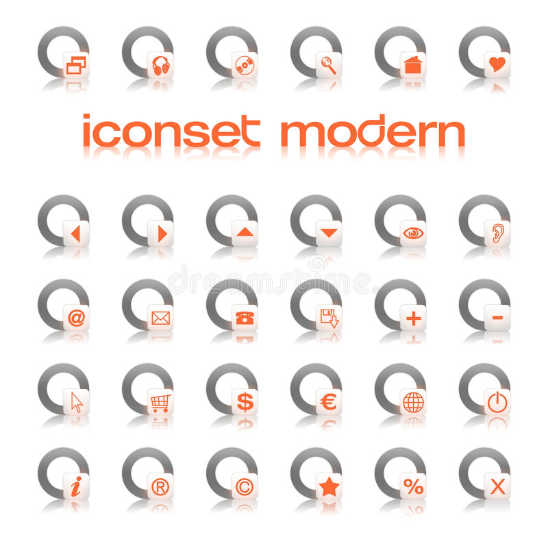 Iconset moderne Orange stock abbildung