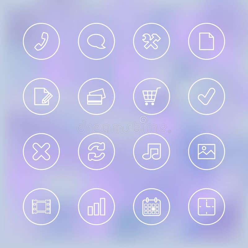 Iconset voor mobiele app UI, transparante duidelijk royalty-vrije illustratie
