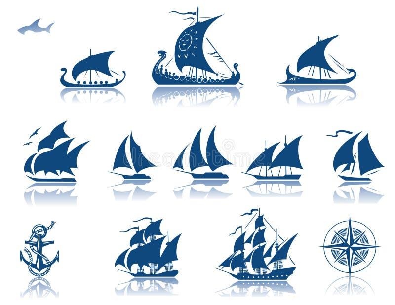 iconsetpastships royaltyfri illustrationer