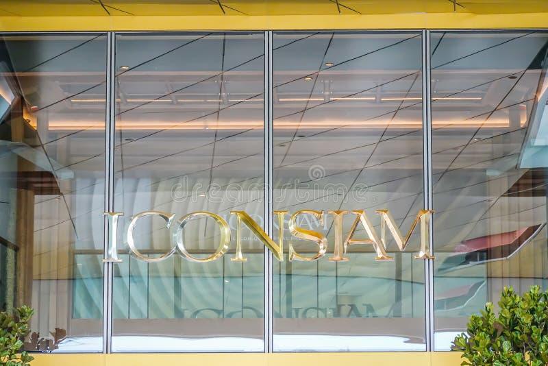 ICONSIAM-Einkaufszentrum-Logoanzeige vor Kaufhaus 10,2018 im November in Bangkok, Thailand lizenzfreies stockbild