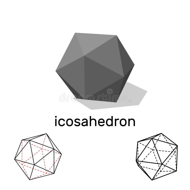 icosahedron Dimensión de una variable geométrica Aislado en el fondo blanco Vect libre illustration