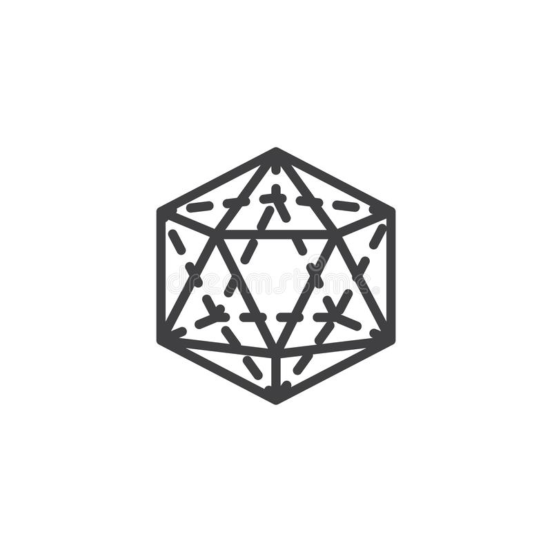 Icosahedron geometrical figure outline icon. Linear style sign for mobile concept and web design. Icosahedron geometric shape simple line vector icon. Symbol royalty free illustration
