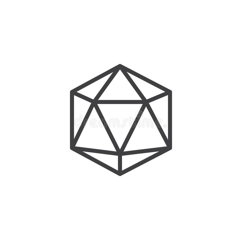 Icosahedron geometrical figure outline icon. Linear style sign for mobile concept and web design. Icosahedron geometric shape simple line vector icon. Symbol vector illustration