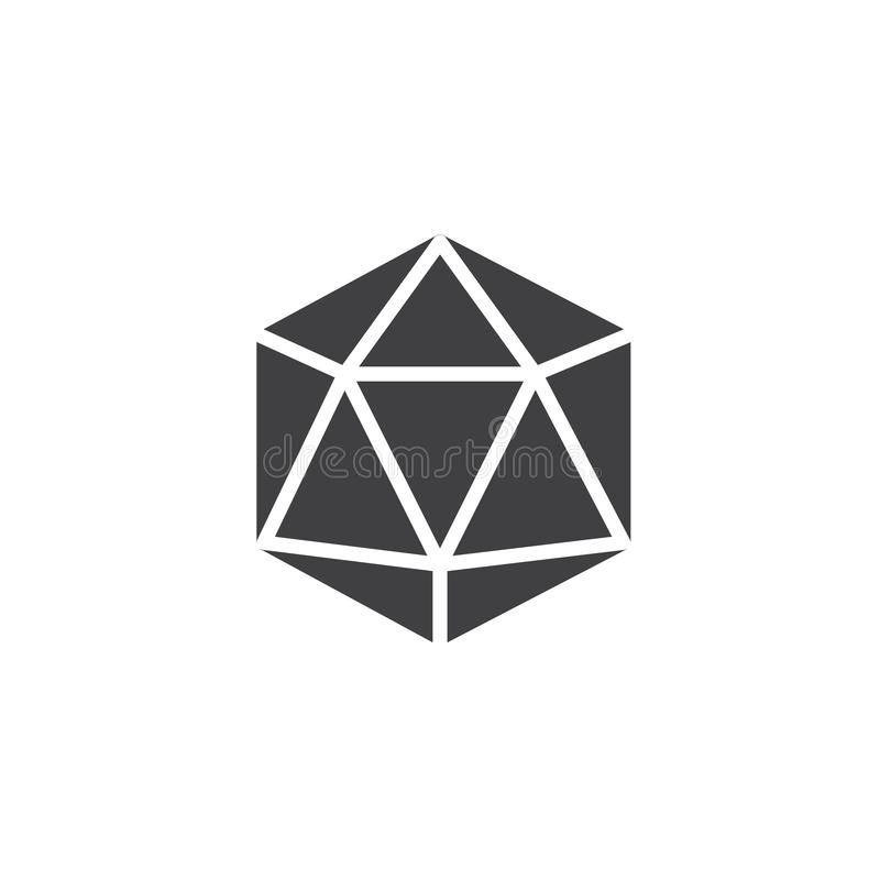 Icosahedron geometrical figure vector icon. Filled flat sign for mobile concept and web design. Icosahedron geometric shape simple solid icon. Symbol, logo vector illustration