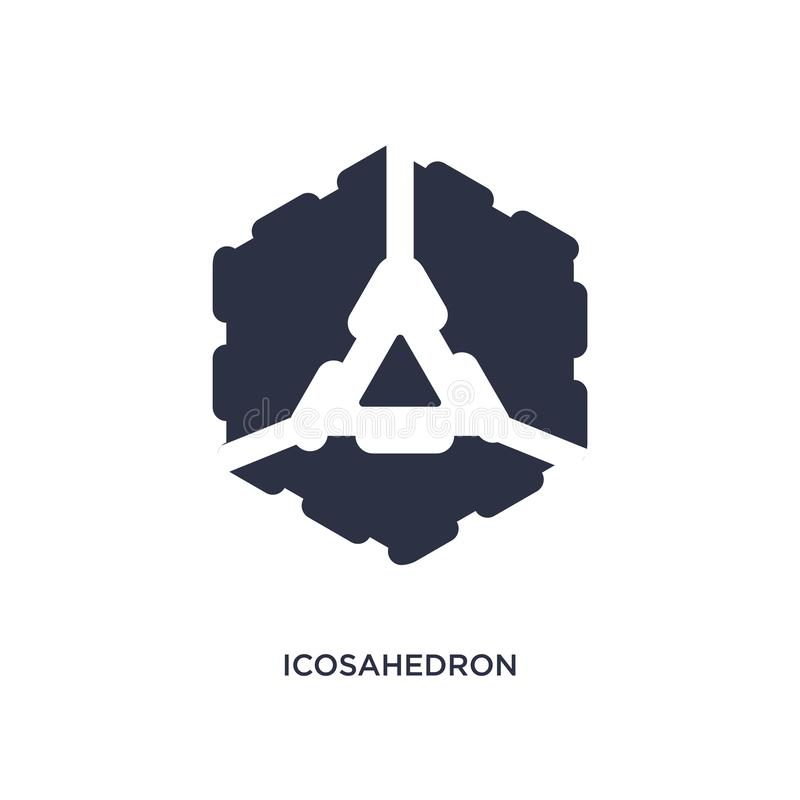 icosahedron ikona na białym tle Prosta element ilustracja od geometrii pojęcia royalty ilustracja