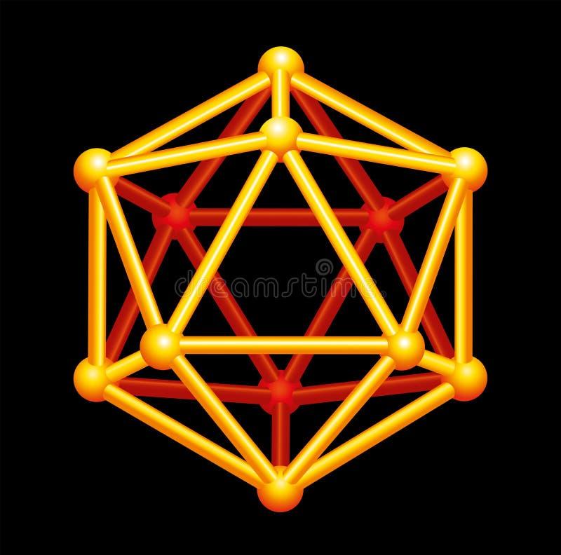 Icosahedron Złocisty Trójwymiarowy kształt fotografia royalty free