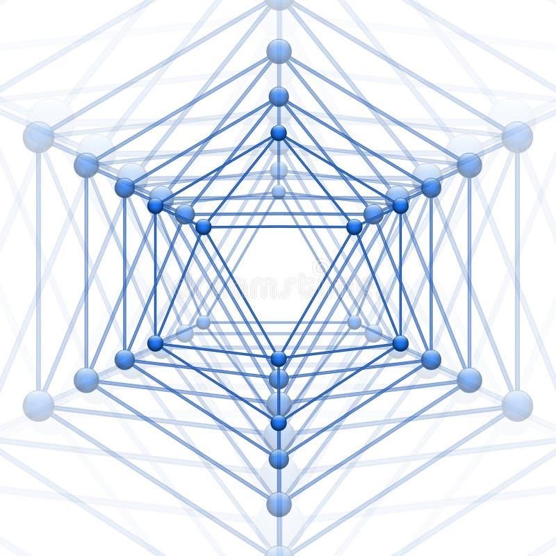 Icosahedronen med kvarteret förbinder stock illustrationer