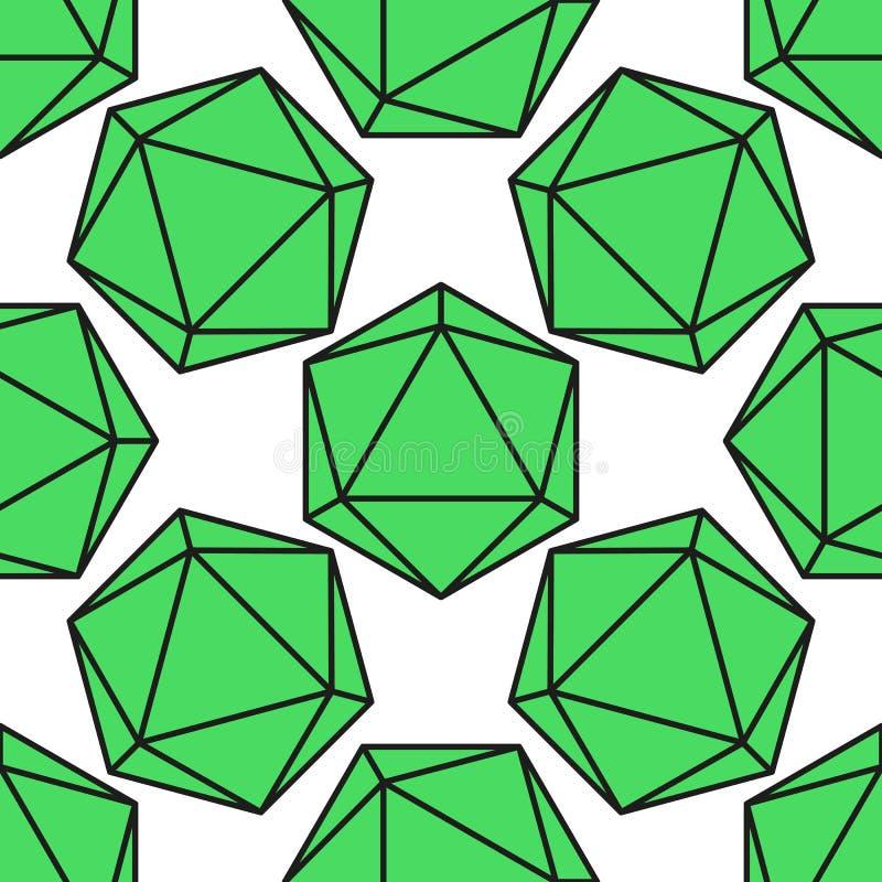 Icosahedronmodellvektor stock illustrationer