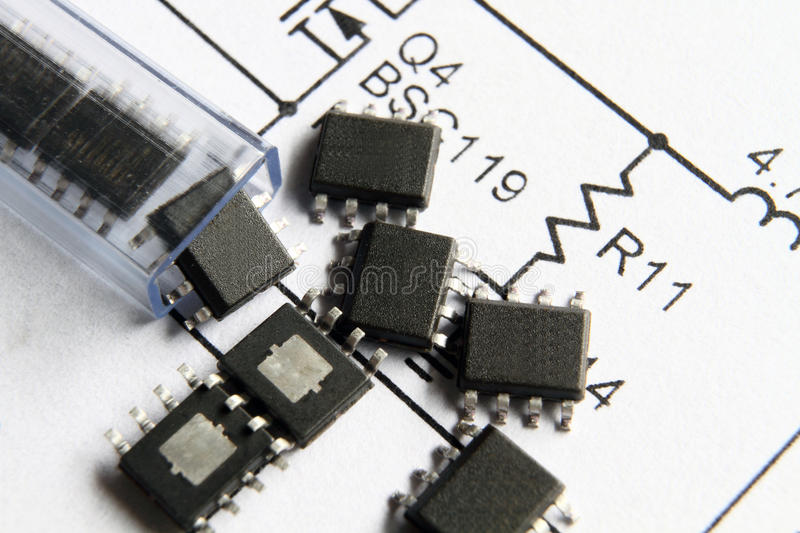 ICs slip out of tube on the circuit design royalty free stock photography