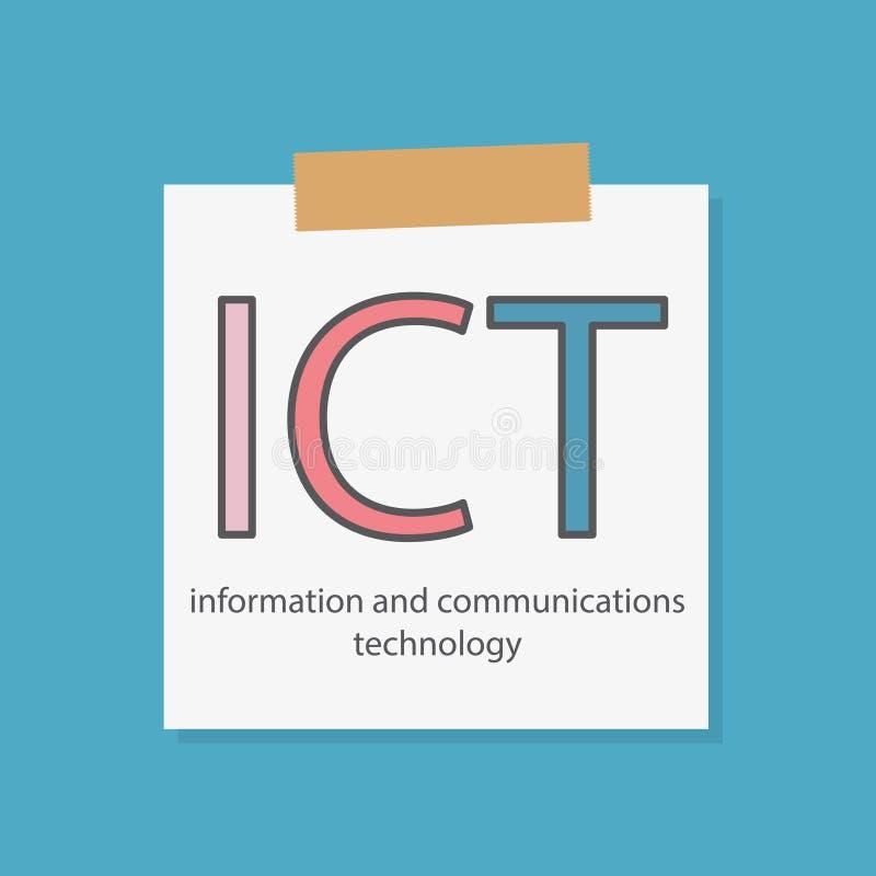ICT在笔记本写的信息和通讯技术 库存例证